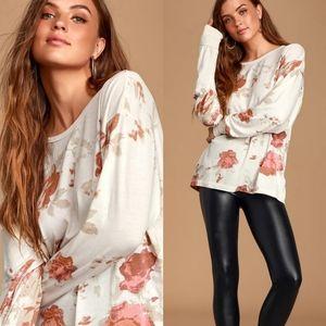Free People Floral Print Long Sleeve Top Arielle